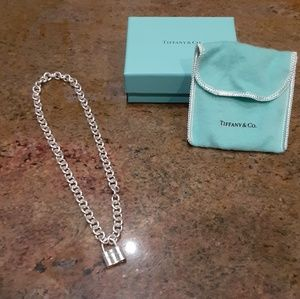 Tiffany and Co sterling silver padlock necklace.